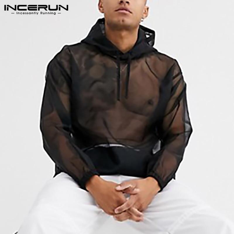 INCERUN Fashion Men Mesh T Shirt Hooded See Through Long Sleeve Casual Tops Sexy Streetwear Loose Nightclub Party Mens T-shirts