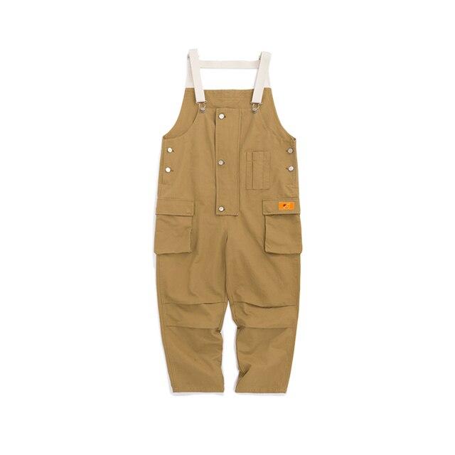 2020 New Cotton Men's Pockets Buttons Loose Bib Overalls Hip Hop Suspenders Jumpsuits Coveralls Blue Khaki Men's Shorts 1