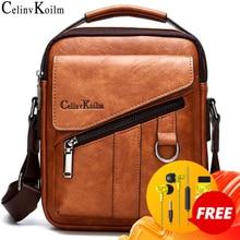 Celinv Koilm الفاخرة العلامة التجارية الجديدة الرجال الحقائب موضة الأعمال Crossbody حقيبة كتف للذكور انقسام الجلود رسول حمل حقيبة السفر