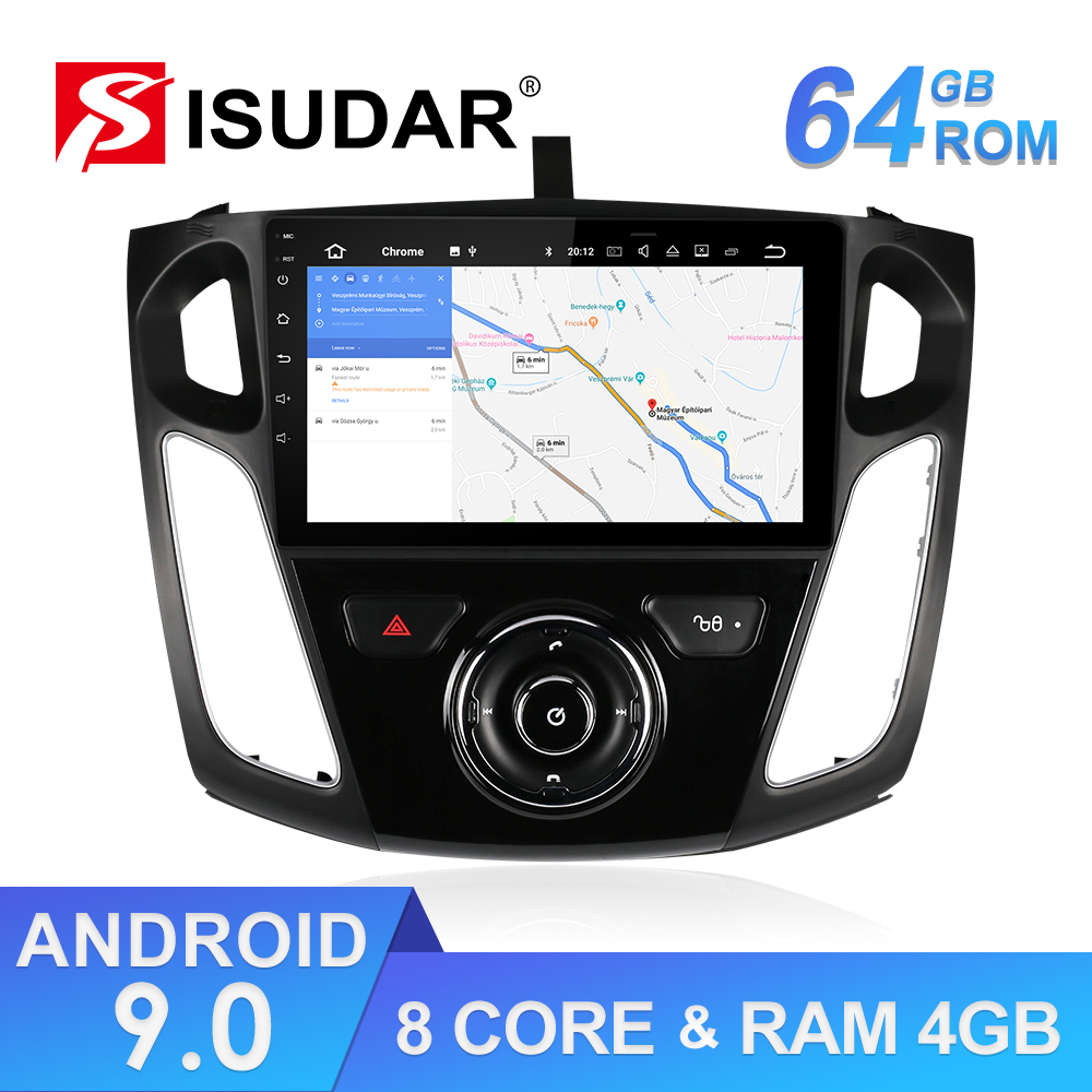 Isudar RAM 64GB Android 9 Auto Radio 1 Din For Ford/Focus 3 Car Multimedia Stereo Player GPS Octa Core 4G DSP USB DVR Camera