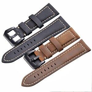 24 мм ремешок для часов из натуральной кожи для Suunto9 Spartan Sport HR Watch Band Suunto 9 Baro Crazy horse кожаный ремешок для часов черный