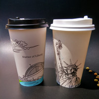 200pcs Creative white disposable coffee cup 16oz 500ml milk tea coffee cold hot drink paper cups takeaway packaging cup with lid