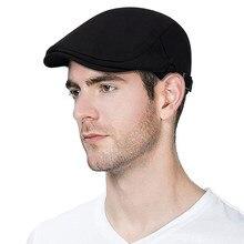 2019 novo homem boinas de algodão britânico do vintage tampões lisos gatsby masculino sólido cinza preto primavera outono inverno ajustável motorista chapéus