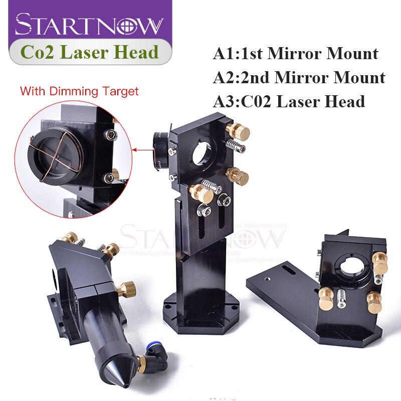 Startnow CO2 Laser Head Set With Laser Path Calibrating Device Dia.20/Lens FL 50.8 & 101.6mm D25/Mirror Integrative Mount Holder