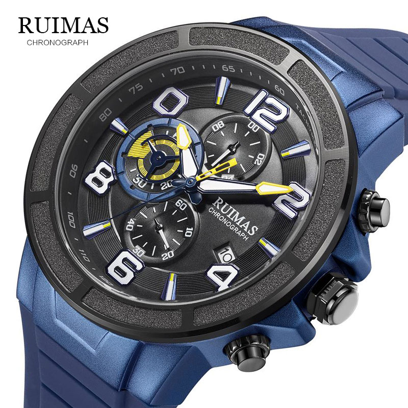 2020 New RUIMAS Blue Casual Silicone Fashion Quartz Black Watch Mens Watches Top Brand Luxury Waterproof Clock Relogio Masculino