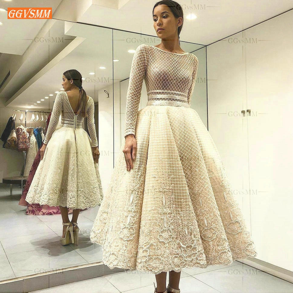 Romantic Boho Weeding Dress Long Sleeves 2020 Tulle Netting Lace Applique Garden Weeding Gowns Backless Tea Length Bride Dresses