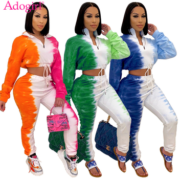 Adogirl Women Changing Color Two Piece Set Stand Collar Long Sleeve Drawstring Sweatshirts Crop Top Pencil Pants Jogging Suit