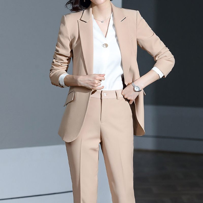 Work Office Lady Women Pant Suits Notched Collar Blazer Jacket & Pencil Pant Female Suit Autumn 2019 Winter High Quality
