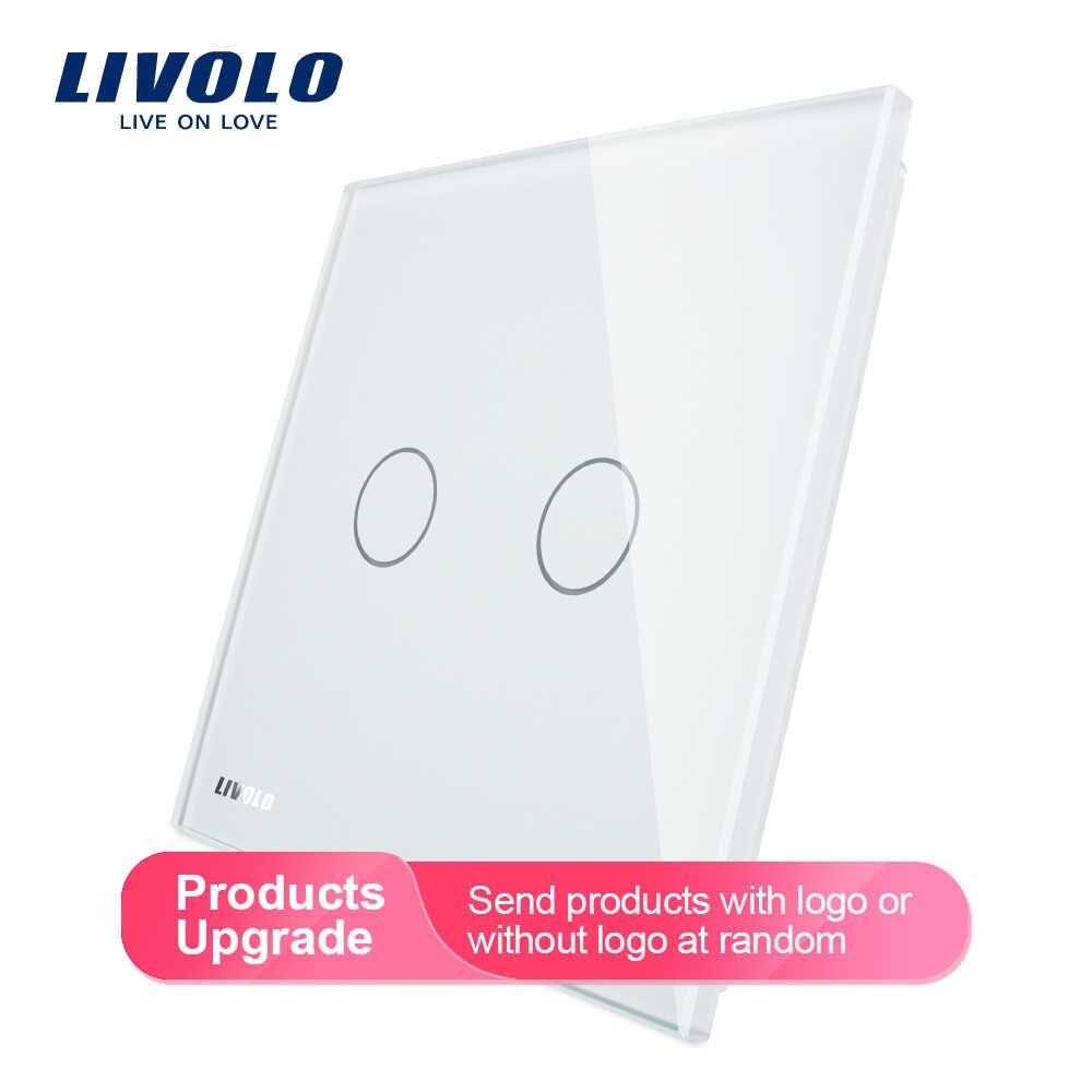 Livolo luksusowe biały perłowy kryształ szkło, standard ue, pojedynczy Panel szklany do 2 Gang włącznik dotykowy na ścianę, VL-C7-C2-11 (4 kolory)
