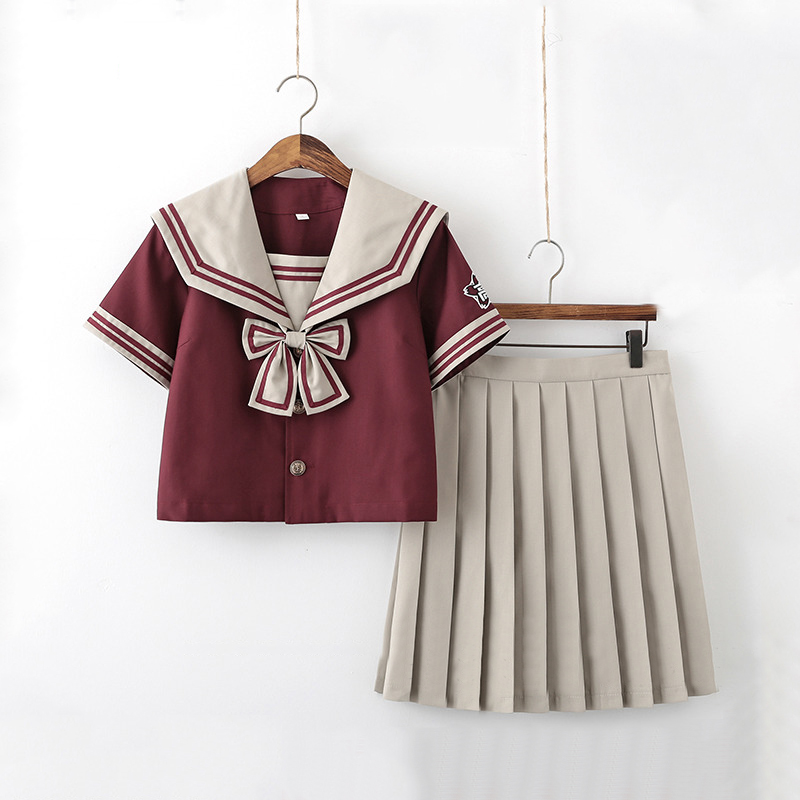 Red Sailor Uniform Cosplay Japanese Jk School Uniform For Girls Embroideried Short Sleeve High School Women Novelty Uniforms