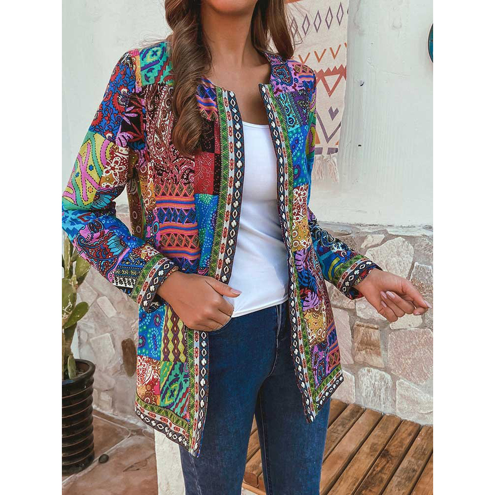 Women Ethnic Printed Cardigan Thin Coats Long Sleeve Blouse Coats Casual O Neck Open Stich Plus Size Overcoats Outwear
