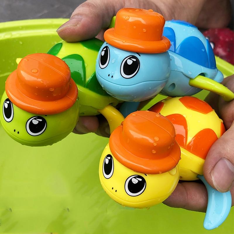 1PCS Cute Cartoon Animal Tortoise Classic Baby Water Toy Infant Swim Turtle Wound-up Chain Clockwork Kids Beach Bath Toys
