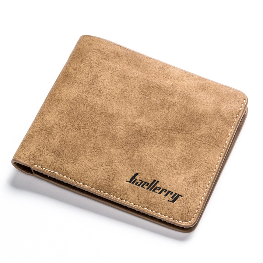 New Men Retro Frosted PU Wallet Two Folding Male Purse Credit Card Holder Solid Color Short Wallet Purse And Wallet