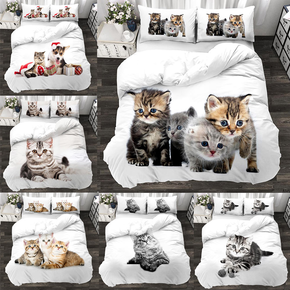 Animal 3d Cute Cat Custom Bedding Set Kitten Quilt Cover Pillowcase 3pcs Twin Designer Designer Bedding Luxury