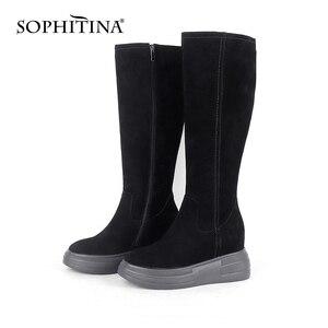 Image 5 - Sophitina Verhogen Binnen Laarzen Vrouwen Handgemaakte Lederen Koe Suede Comfortabele Elegante 2020 Winter Schoenen Nieuwe Laarzen PO373