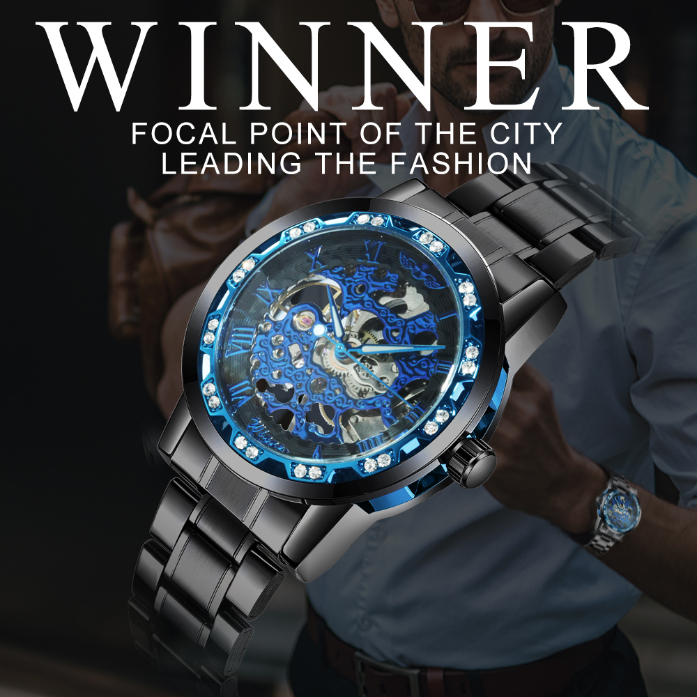 H88a81606c26047279bdc11ac5e3ad322w WINNER Fashion Business Mechanical Mens Watches Top Brand Luxury Skeleton Dial Crystal Iced Out Wristwatch Hot Sale Clock 2019