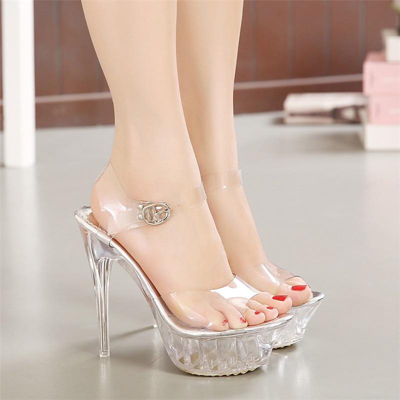 Plataforma de salto alto transparente sandálias de