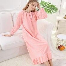 Новинка Осень зима 2020 Женская Ночная Рубашка Фланелевая свободная