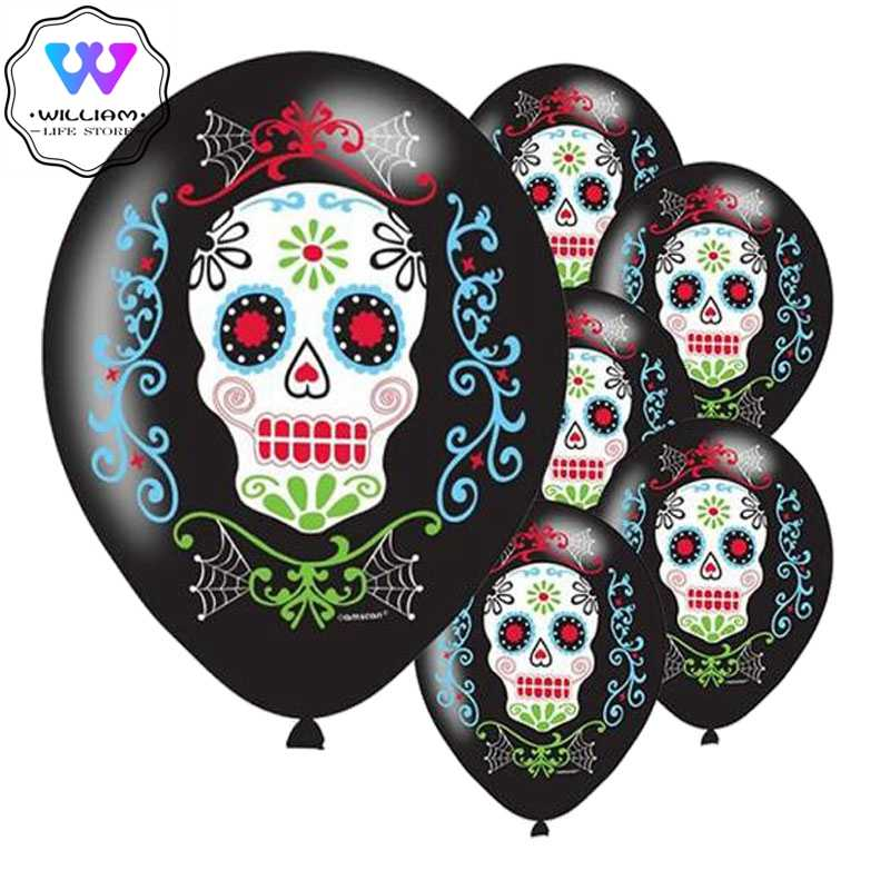 10pcs Day of The Dead Balloon Dia de los Muertos palloncini in lattice decorati per bambini giocattoli con palloncini in lattice teschio