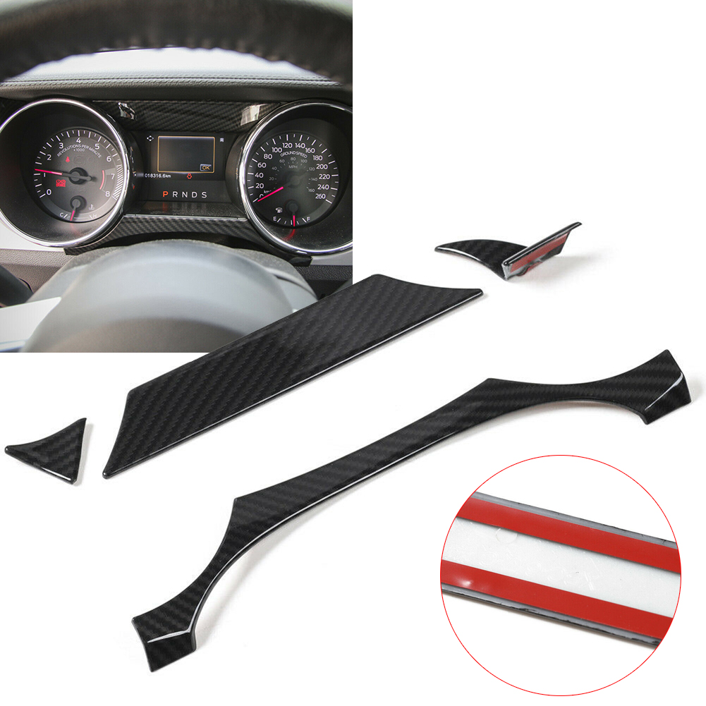 Carbon Fiber Car Dashboard Instrument Box Cover Trim Strip Stickers For Ford <font><b>Mustang</b></font> <font><b>2015</b></font> 2016 Car Styling <font><b>Accessories</b></font> 4PCS/Set image