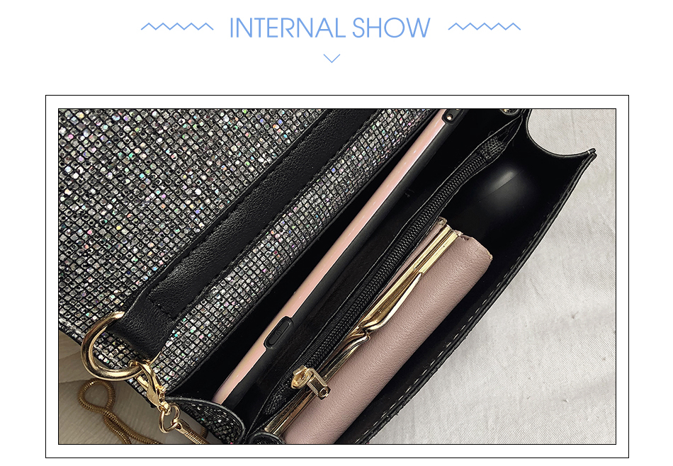 H88a84e1b5ff6470894b1471c4905b956u - Women Sequin Glitter Evening Clutch Bag Ladies Sparkly Design Wedding Party Shiny Handbag Lady Chain Metal Shoulder Bag