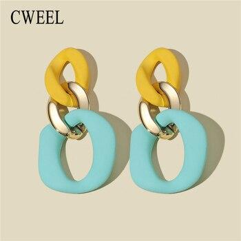 CWEEL Yellow Earrings For Women Trend Style Statement Dangle Earings Bohemian Fashion Boho Large Jewelry Geometry Accessories 1