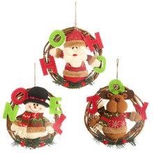 Cartoon Christmas Pendant Animal Decorative Rattan Doll Hanging Wreath Ornaments Santa Claus/Snowman/Reindeer