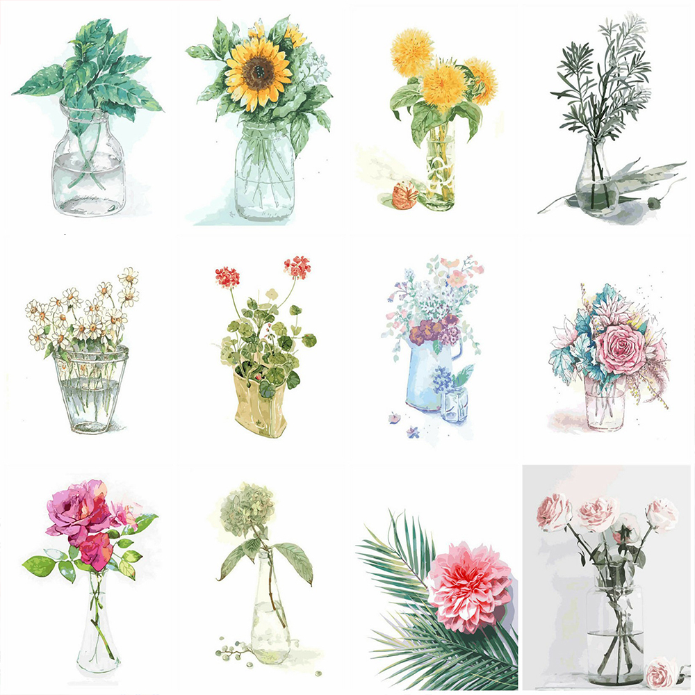 HUACAN Paint By Numbers Flowers HandPainted Drawing Canvas Pictures Oil Painting Kits DIY Coloring Home Decor Gift