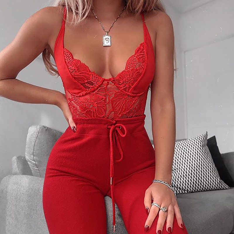 Red Lace V Neck See Through Sheer Teddy Bodysuit