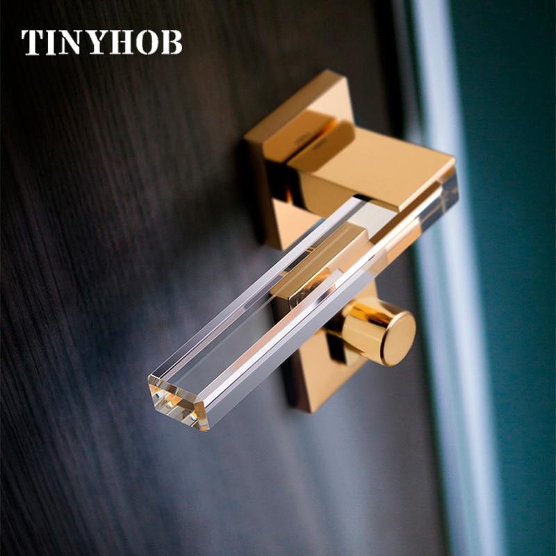 3 Colors Simple Zinc Alloy Door Handles For Bedroom/Kitchen European Style Square Anti-theft Room Safety Door Lock Set