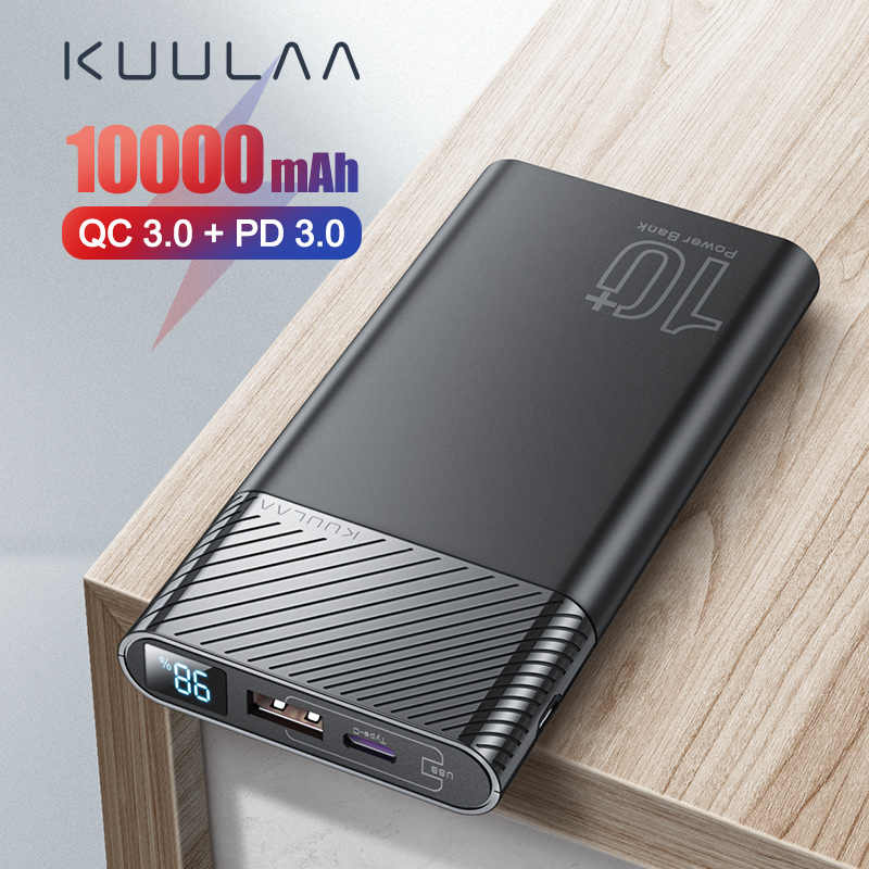 Kuulaa powerbank 10000 mah qc pd 3.0 banco de potência carregamento rápido poverbank 10000 mah usb carregador de bateria externa para xiaomi mi 10