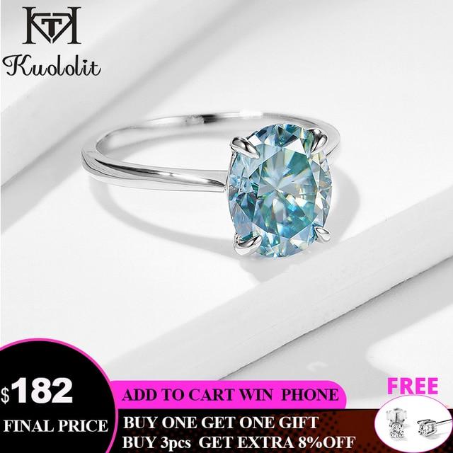 Kuololit ירוק כחול סוליטייר טבעת לנשים 10K מוצק זהב טבעת סגלגל Moissanite יהלומים לחתונה אירוסין בסדר תכשיטים