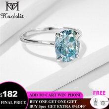 Kuololit anillo solitario de oro sólido ovalado para mujer, sortija de laboratorio de moissanita verde y azul para boda, joyería fina de compromiso