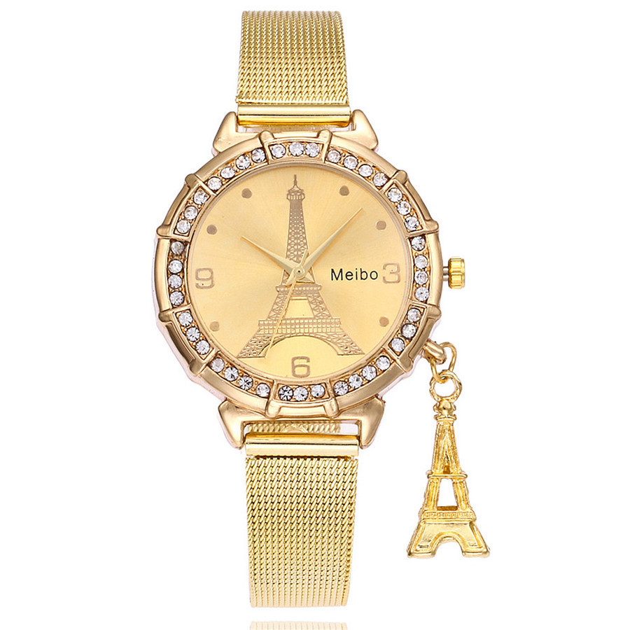 Female watch MEIBO Fashion Women Eiffel Tower Stainless Steel Quartz Wrist Watch Wristwatch Clock Gift High Quality Clock #8
