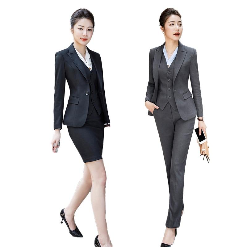 Female Elegant FormalI New Style Office Ladies Uniform Business Womens Suits Set 2Pieces Pants Suits Costume Plus Size Work Wear