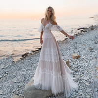 2019 Bohemian Wedding Dresses Off Shoulder Lace Appliques Bridal Gowns Sexy Backless Beach A Line Wedding Dress Robe De Mariee