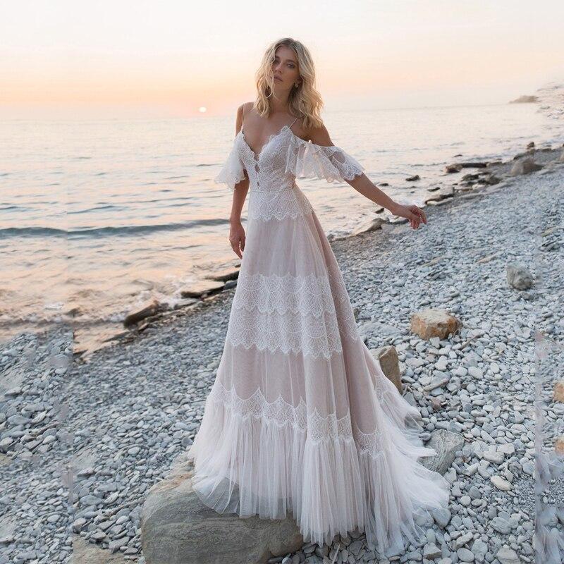 2019 robes De mariée bohème épaules nues dentelle Appliques robes De mariée Sexy dos nu plage une ligne Robe De mariée Robe De Mariee
