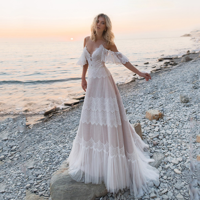 Bohemian Wedding Dresses 2020 Off Shoulder Lace Appliques Bridal Gowns Sexy Backless Beach A Line Wedding Dress Robe De Mariee(China)