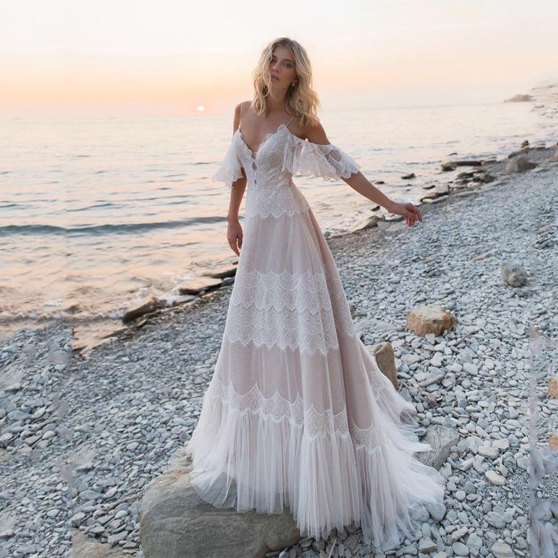 Bohemian Wedding Dresses 2020 Off Shoulder Lace Appliques Bridal Gowns Sexy Backless Beach A Line Wedding Dress Robe De Mariee