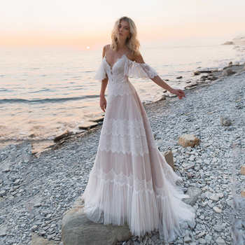 Bohemian Wedding Dresses 2020 Off Shoulder Lace Appliques Bridal Gowns Sexy Backless Beach A Line Wedding Dress Robe De Mariee front slit appliques wedding dresses 2019 off the shoulder a line chiffon bride dress free shipping wedding gown robe de mariee