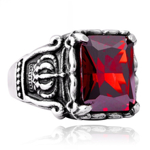 Crimson Big Stone Ring Mens Stainless Steel Men Classic Dragon Claw Punk Jewelry Rock Initial