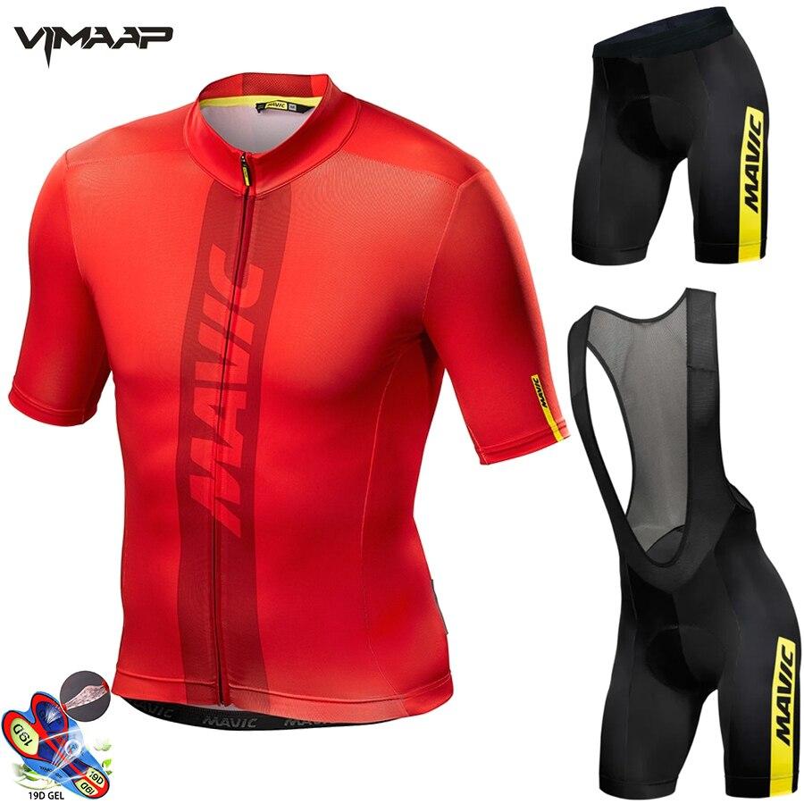 Mavic 2021 verão pro equipe respirável dos homens manga curta camisa de ciclismo kit ropa ciclismo bicicleta roupas bib shorts conjunto