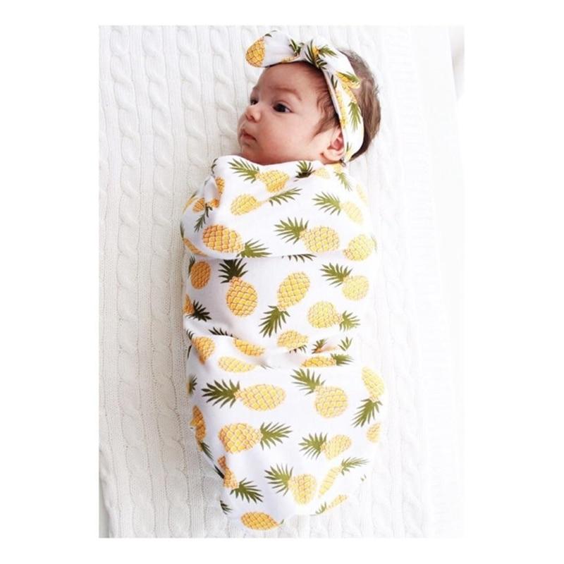 2Pcs/Set Newborn Swaddle Blanket Baby Cocoon Sleeping Bag Muslin Wrap Headband