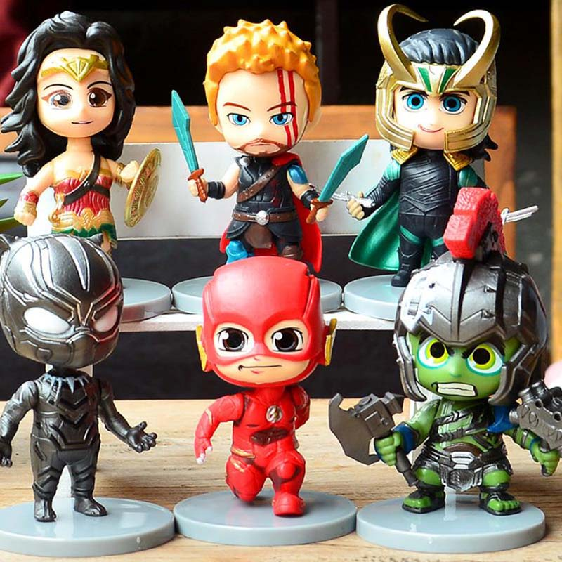 6 Pieces/lot 10CM Anime Avengers Batman Spider-Man Iron Man Superhero League Model Toy Gifts for Boys Doll Hand do Toys Sell Well