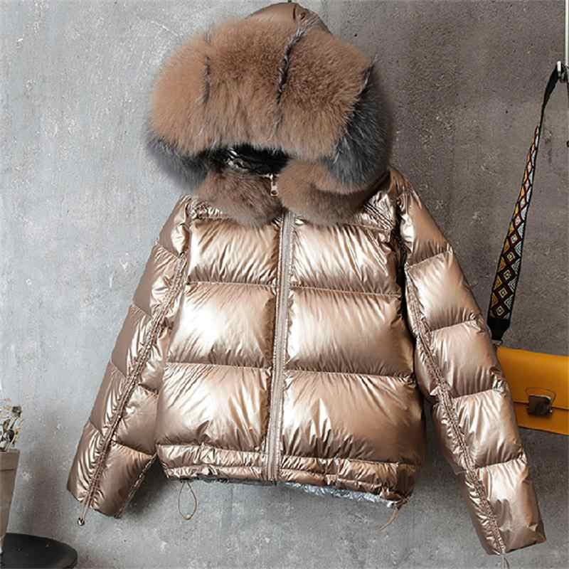 Natural Fur Collar Double Sided Down Jacket Winter Women White Duck Down Coat Female Padded Warm Parkas waterproof Outerwear