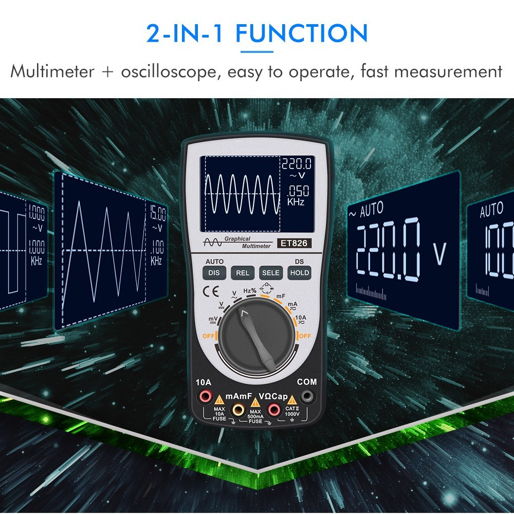 2-in-1 Intelligent Digital Oscilloscope Multimeter DC/AC Current Voltage Resistance Frequency Diode Tester 4000 Counts 200KHz