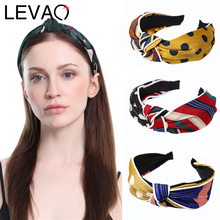 LEVAO Korean Striped Elegant Hairbands Bezel Turban Women Solid Knotted Polka Dot Headbands Girls Hair Accessories Hair Hoop New цена