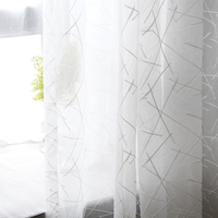 LISM-cortina de tul a rayas blancas para sala de estar, cortinas de ventana transparente de gasa de lino modernas para dormitorio, persianas de cocina
