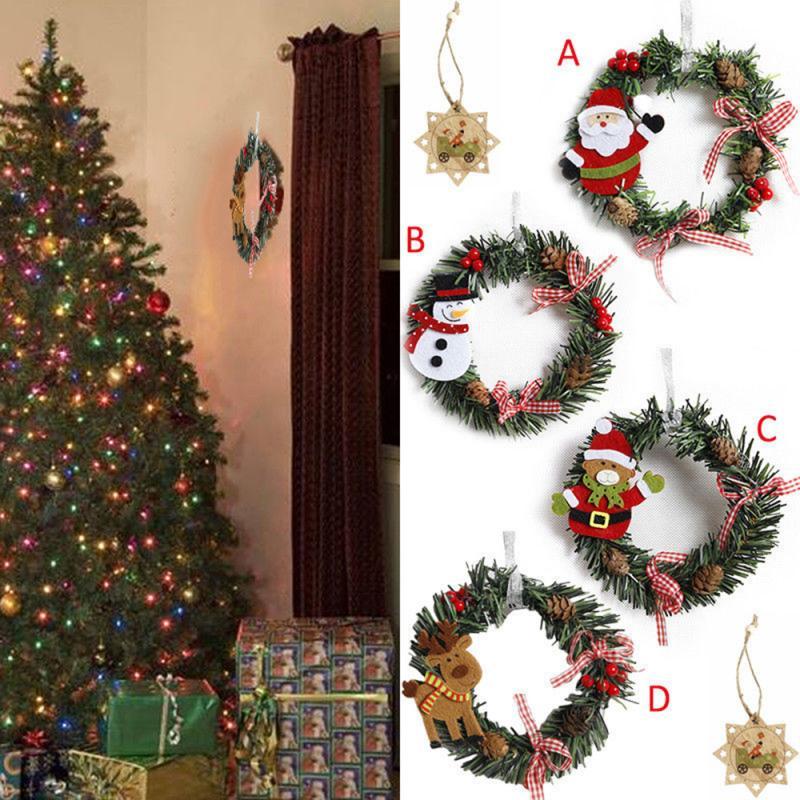 Mini Xmas Wreath Decor Wall Door Hanging Ornament Garland Christmas Party Decor DIY Xmas Gift Wedding Decorations