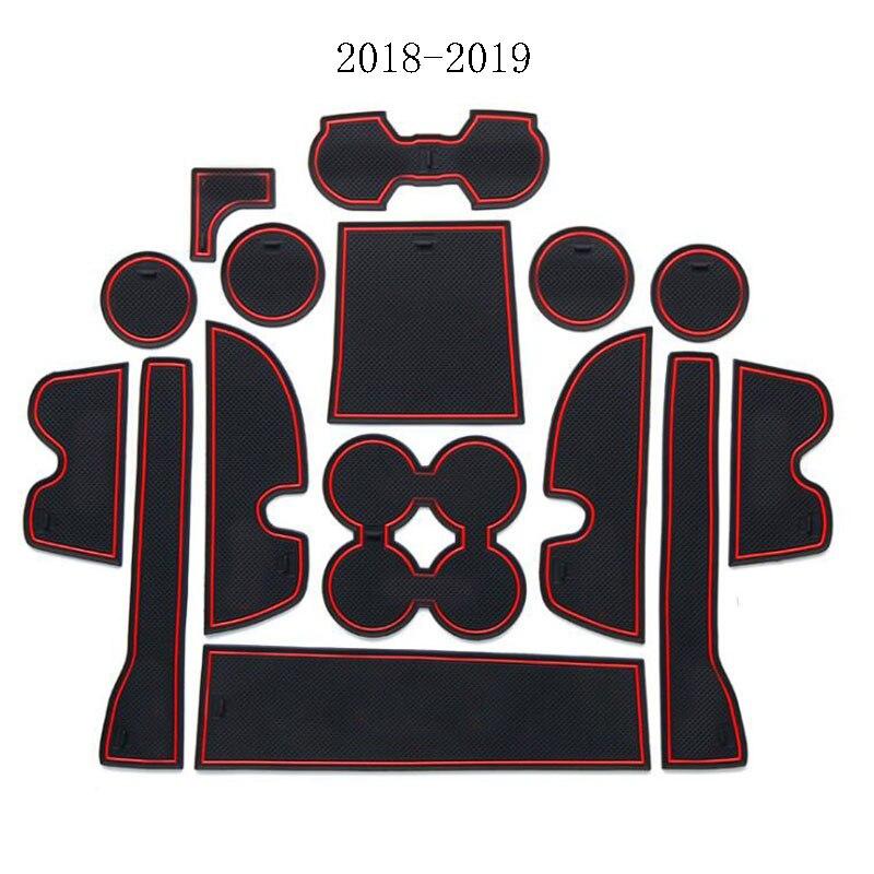 Gate slot mat For TOYOTA Land Cruiser Prado 150 2010-2018 2019 Interior Door Pad Cup Non-slip mats red white 15pcs Slot Coaster